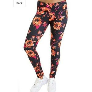 Floral Leggings Size Large 90 DEGREE by Reflex